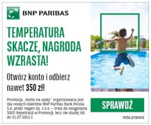 BNP Paribas Konto na Upały premia do 350 zł
