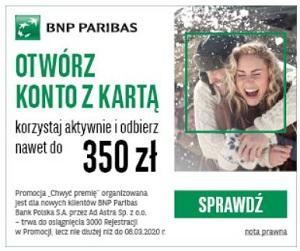 BNP Paribas Konto Otwarte na Ciebie z premią