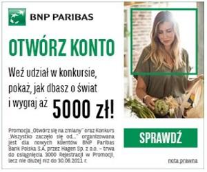 BNP Paribas 200 zł za konto + nagrody: rowery i sakwy rowerowe