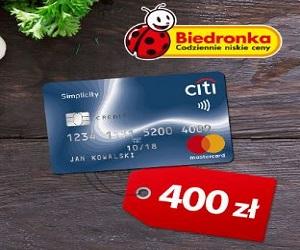 Citi Handlowy Karta Citi + 400 zł do Biedronki