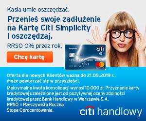 Pożyczka konsolidacja z karty kredytowej Citi Handlowy